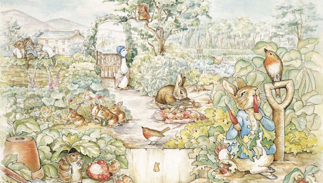Peter Rabbit at Kew Gardens, Beatrix Potter illustration