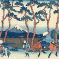 Katsushika Hokusai ( - ) Hodogaya from 'The Thirty-Six Views of Fuji' Woodblock print. To be exhibited by Japan Print Gallery