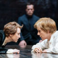 Lia Williams as Elizabeth (left) and Juliet Stevenson as Mary Stuart at the Duke of York's. Credit: Manuel Harlan