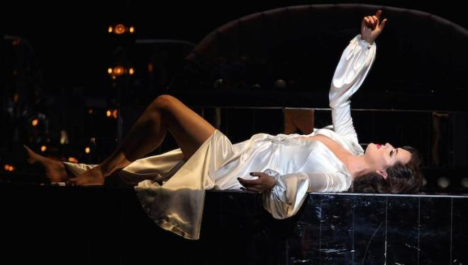 Claudia Boyle works flat out as Violetta in La Traviata. Photo: Catherine Ashmore