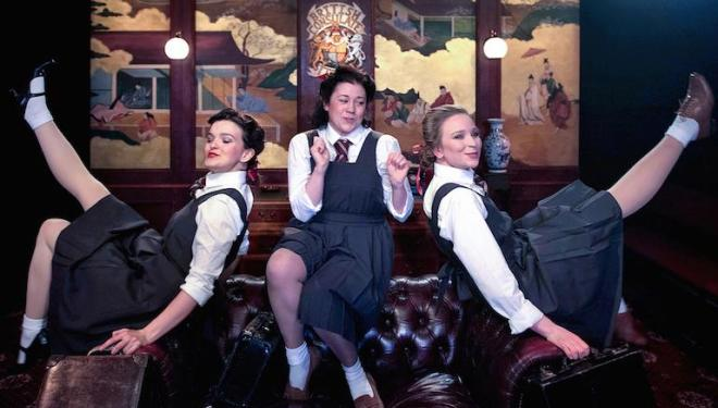 Three little maids from school – with a taste for whiskey, in Charles Court Opera's The Mikado. Photo: Bill Knight