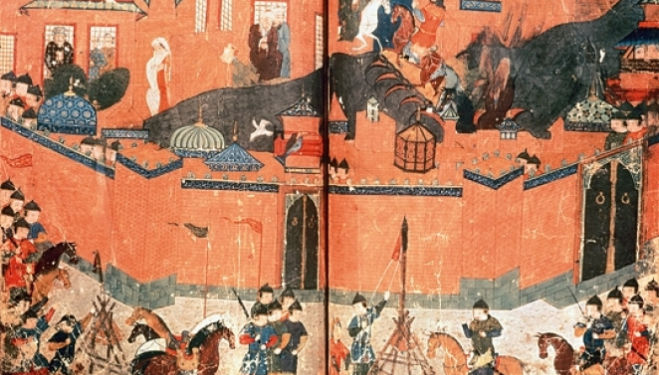 Mongols, led by Hulagu, capturing Baghdad in 1258