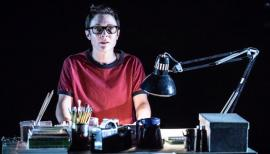 Kaisa Hammarlund as adult Alison. Fun Home, Young Vic Theatre review