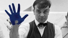 Portrait of Yves Klein during the shooting of the documentary by Peter Morley