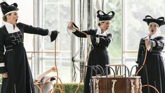 The Three Ladies comes to the rescue at Garsington. Photo: Johan Persson