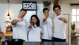 Benjamin Lebus (right) and the Mob Kitchen team