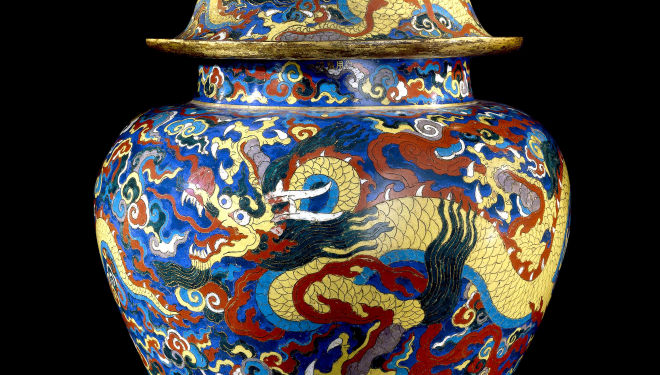 Cloisonné enamel jar and cover with dragons. Metal with cloisonné enamels,  Xuande mark and period (1426-1435), Beijing. © The Trustees of the British Museum