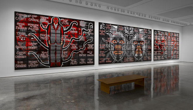 Gilbert & George SCAPEGOATING PICTURES FOR LONDON, White Cube Bermondsey 18 July - 28 September 2014 © Gilbert & George Photo: Jack Hems Courtesy White Cube