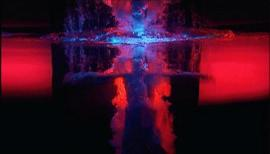 "Bill Viola, ""Fire Angel"", panel 3 from Five Angels for the Millennium, 2001. Video/sound installation. Performer: Josh Coxx. Courtesy Bill Viola Studio. Photo: Kira Perov;"