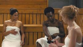 Viola Davis, Michelle Rodriguez and Elizabeth Debicki rest up for the heist of a lifetime