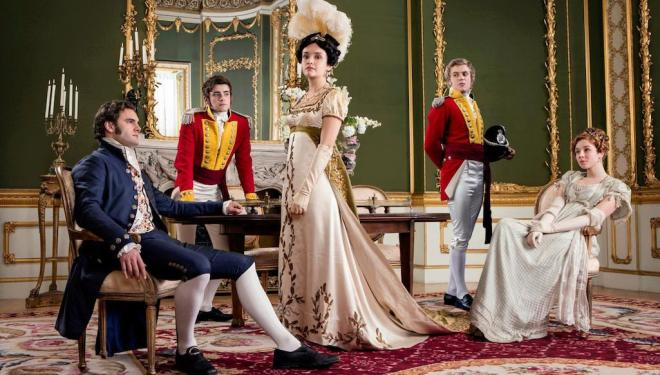 Tom Bateman, Charlie Rowe, Olivia Cooke, Johnny Flynn, and Claudia Jessie in Vanity Fair