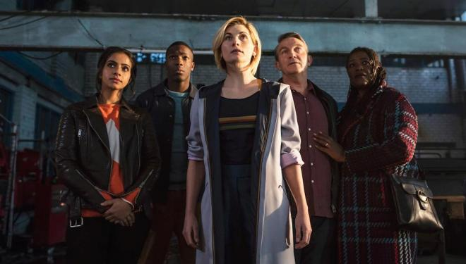 Mandip Gill, Tosin Cole, Jodie Whittaker, Bradley Walsh, Sharon D Clarke in Doctor Who season 11