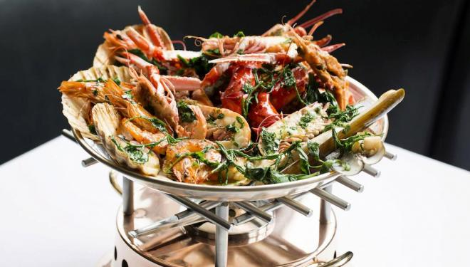 Roast shellfish platter at Scott's.  photo by John Carey