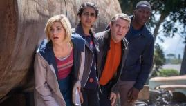 Jodie Whittaker, Mandip Gill, Bradley Walsh, and Tosin Cole in Doctor Who