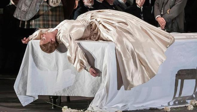 Sarah Tynan is sacrificed to male ambition in the title role of Lucia di Lammermoor at English National Opera. Photo: John Snelling