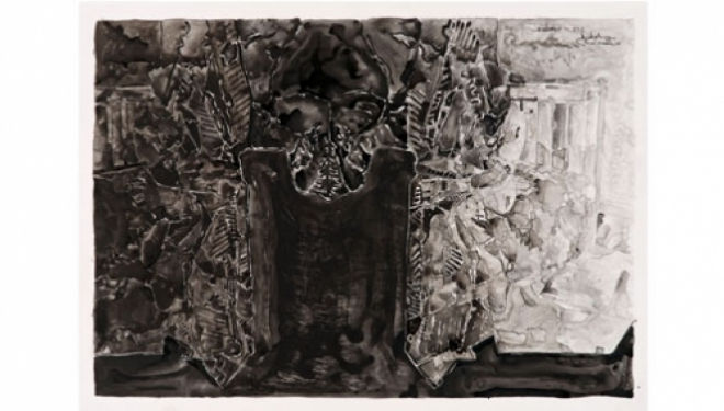 Jasper Johns (born 1930), Untitled, 2013  Ink on plastic, 69.9 x 91.4 cm  The Museum of Modern Art, New York.  Promised gift from a private collection, Courtesy of The Courtauld Gallery