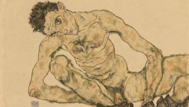 Egon Schiele, Nude Self-Portrait, Squatting, 1916