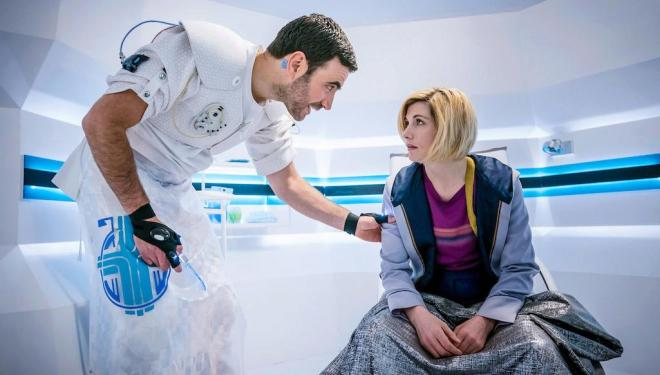 Brett Goldstein and Jodie Whittaker in Doctor Who