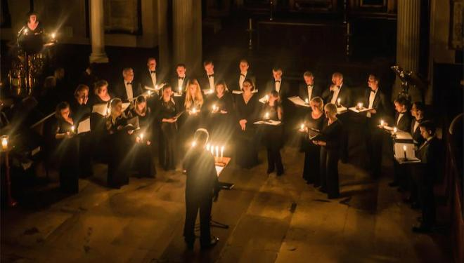 Ex Cathedra sing sacred music by candlelight on 13 Dec. Photo: Roger Cable