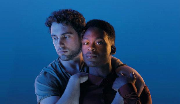 Billy Cullum (Alex) and Tyrone Huntley (Obi) in Leave to Remain at Lyric Hammersmith Theatre