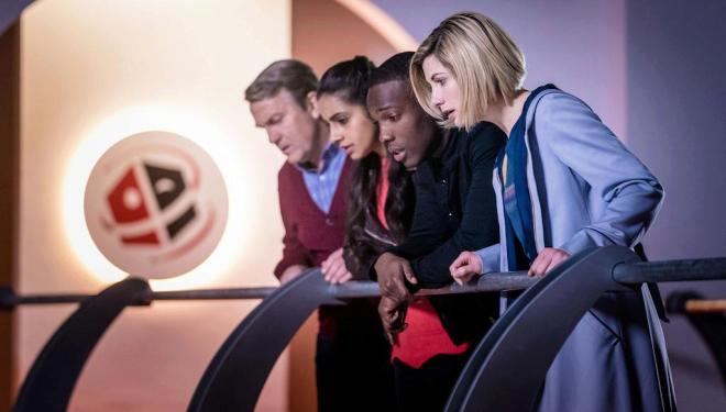 Bradley Walsh, Mandip Gill, Tosin Cole, and Jodie Whittaker in Doctor Who