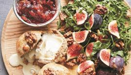 Baked fig with goat's cheese and walnut pastry from Honey & Co's At Home