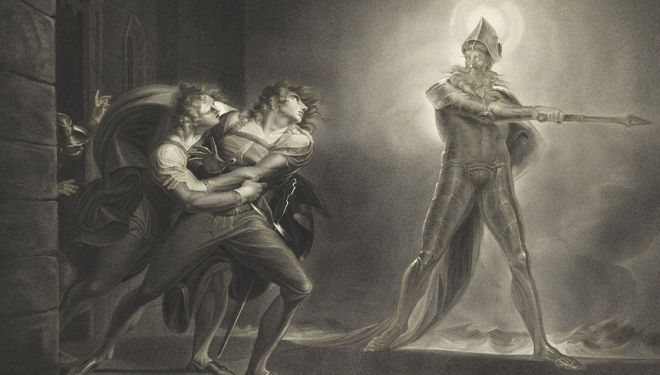 Fuseli's suitably Gothicized image of the ghost of Hamlet's father in Boydell's Shakespeare. Photograph courtesy of the British Library