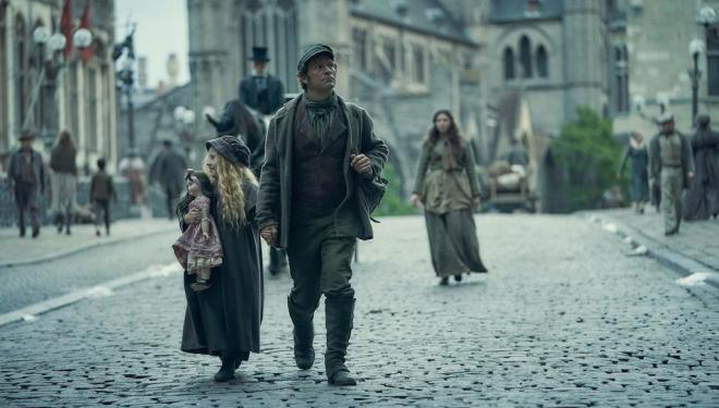 Lia Giovanelli and Dominic West in Les Miserables