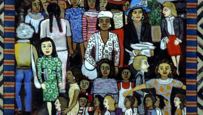 Faith Ringgold, Working Women, 1996, Acrylic on canvas with pieced fabric, © 2018 Faith Ringgold / Artists Rights Society (ARS), New York, Courtesy ACA Galleries, New York