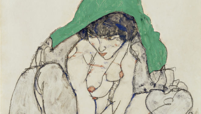 Egon Schiele (1890-1918) Crouching Woman with Green Kerchief, 1914 Pencil and gouache 47 x 31 cm The Leopold Museum, Vienna, courtesy Courtauld Gallery