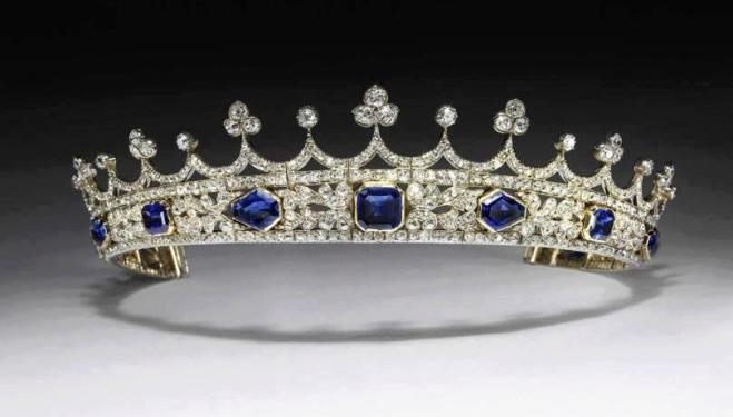 Queen Victoria's sapphire and diamond coronet, designed by Prince Albert, made by Joseph Kitching, London, 1840-1842. Purchased through the generosity of William & Judith, and Douglas and James Bollinger as a gift to the Nation and the Commonwealth. © Vic