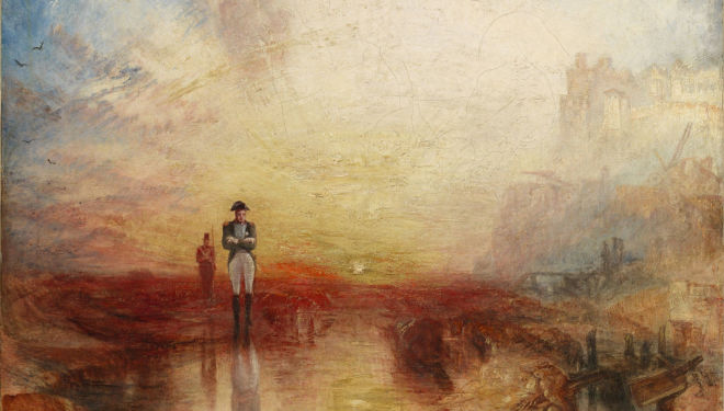 JMW Turner  War: The Exile and the Rock Limpet exhibited 1842  Oil paint on canvas support: 794 x 794 mm frame: 1030 x 1025 x 125 mm painting Tate. Accepted by the nation as part of the Turner Bequest 1856
