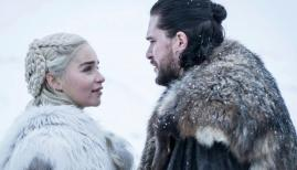 Emilia Clarke and Kit Harrington in Game of Thrones season 8, Sky Atlantic