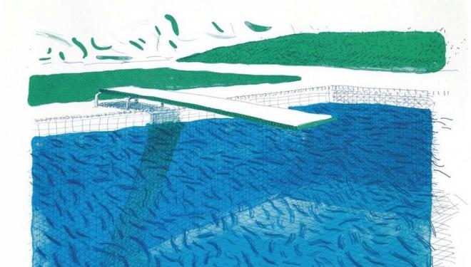 (Cropped image) David Hockney. Lithograph, 1 of 185 Courtesy of Lyndsey Ingram