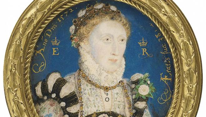 Queen Elizabeth I by Nicholas Hilliard, 1572 © National Portrait Gallery, London (detail)