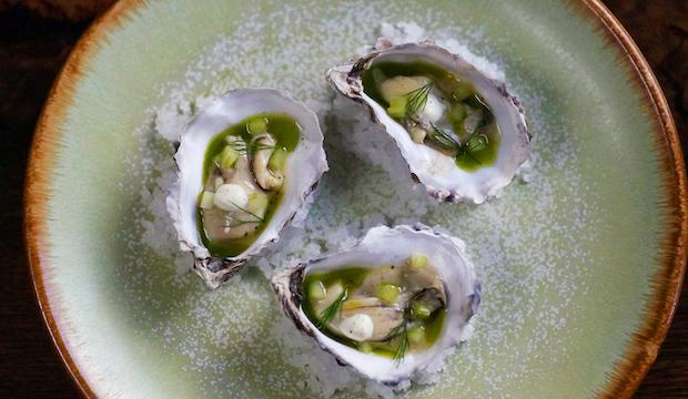 Pickled oysters with horseradish at Cornerstone