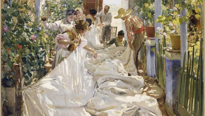 Joaquín Sorolla, Sewing the Sail, 1896, Oil on canvas, 222 × 300 cm, Galleria Internazionale d'Arte Moderna di Ca' Pesaro, Venice 2018 © Photo Archive - Fondazione Musei Civici di Venezia