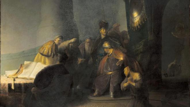 Rembrandt van Rijn (1606-1669), Judas Returning the Thirty Pieces of Silver,1629. © Private Collection, Photography courtesy of The National Gallery, London, 2016