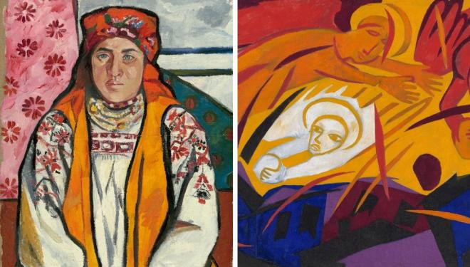 Natalia Goncharova. Left: Peasant Woman from Tula Province 1910. © ADAGP, Paris and DACS, London 2019. Right: Harvest: Angels Throwing Stones on the City © ADAGP, Paris and DACS, London 2019