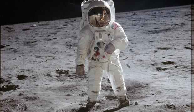 Astronaut Edwin Aldrin walks on the lunar surface of the moon. Credit: NASA