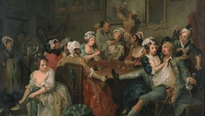 William Hogarth, 'A Rake's Progress III, The Orgy', 1734, by courtesy of the Trustees of Sir John Soane's Museum'.