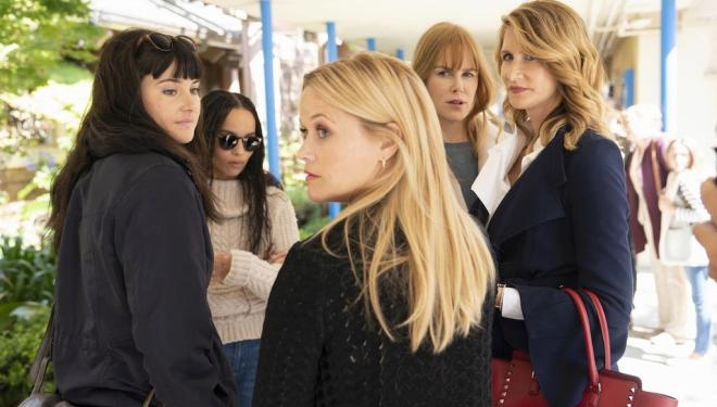 Reese Witherspoon, Shailene Woodley, Zoë Kravitz, Nicole Kidman, and Laura Dern in Big Little Lies season 2, Sky Atlantic