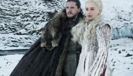 Kit Harrington and Emilia Clarke in Game of Thrones season 8, Sky Atlantic