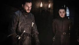 Kit Harrington and Maisie Williams in Game of Thrones season 8, Sky Atlantic