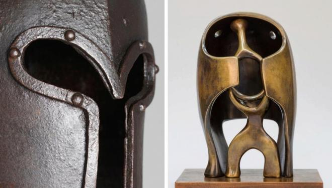Left: Sallet, Antonio Missaglia, Armourer Milan, Italy Date: c1450 – c.1470, Right: The Helmet 1939-40 Bronze 31 x 24.5 x 15.5 cm The Henry Moore Foundation: gift of Irina Moore 1977 Reproduced by permission of the Henry Moore Foundation.