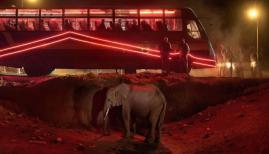 Nick Brandt, 'Bus Station with Elephant & Red Bus' (2018) (c) Nick Brandt & Atlas Gallery