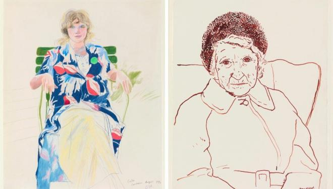 Left: David Hockney. Celia, Carennac. 1971. © David Hockney. Right: David Hockney Mother, Bradford. 1979 © David Hockney. Photo Credit: Richard Schmidt Collection The David Hockney Foundation