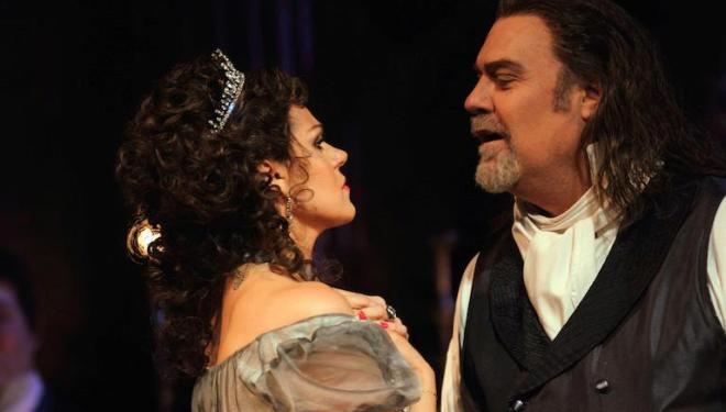 Kristine Opolais (Tosca) and Bryn Terfel (Scarpia) in Tosca at the Royal Opera House. Photo: Catherine Ashmore