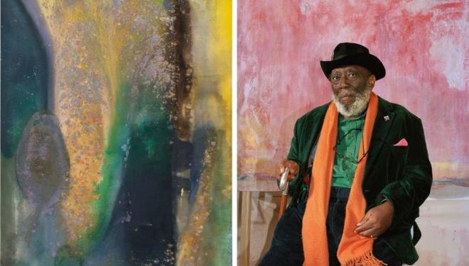 Left: Ah Susan Whoosh 1981. Right: Frank Bowling. Image credit: Mathilde Agius