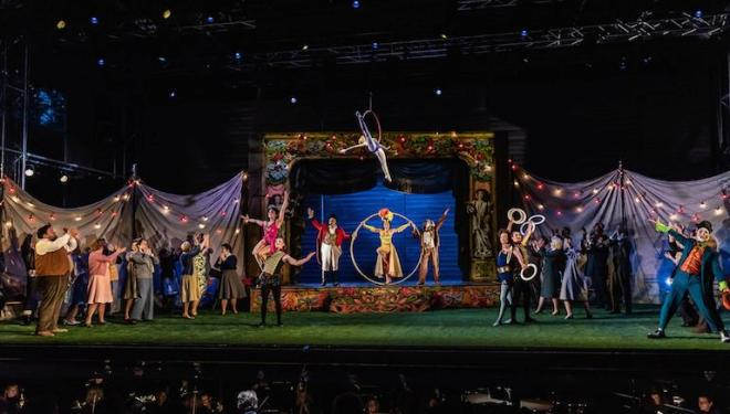 The Bartered Bride at Garsington Opera closes with a night under the big top. Photo: Clive Barda